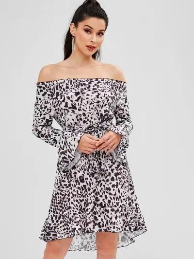 Off Shoulder Leopard Dress