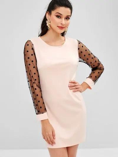 Polka Dot Sleeve Shift Dress