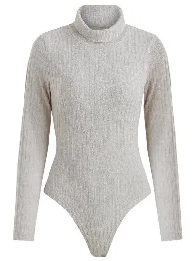 Ribbed Long Sleeve Turtleneck Snap Bodysuit