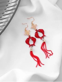 [NEW] 2019 Chinese Knot Fish Earrings In RED