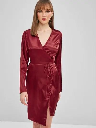 Shiny Wrap Pencil Dress