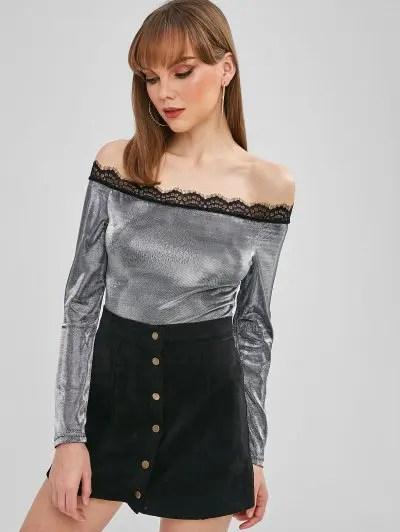 Lace Trim Metallic Off The Shoulder Bodysuit