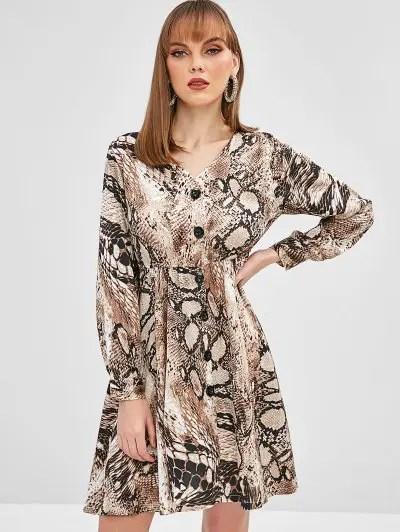 Snakeskin Print A Line Dress