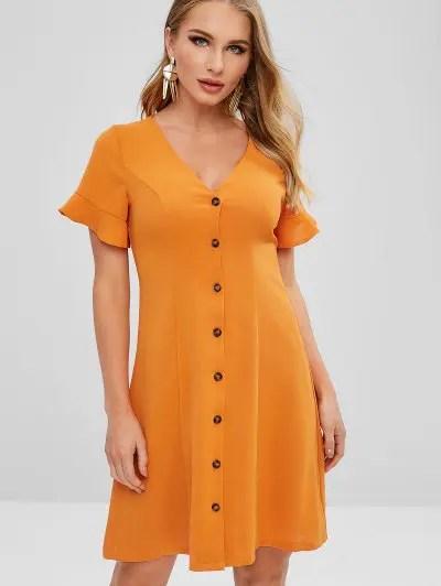 Button Up A Line Dress