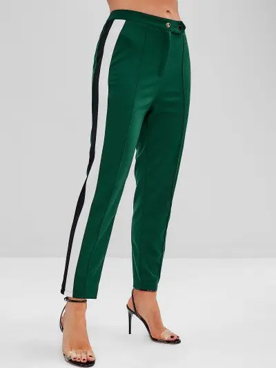 Stripes Panel Straight Pants