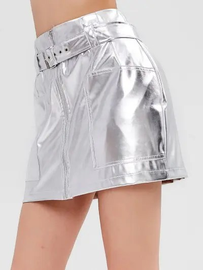 Shiny Faux Leather Skirt