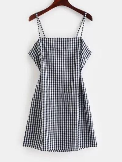 Tie Up Plaid Mini Dress