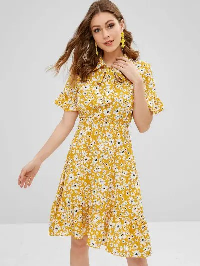 Bow Tie Flounces Floral Dress