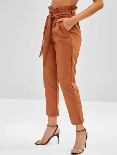 High Rise Side Pockets Pleated Waist Pants