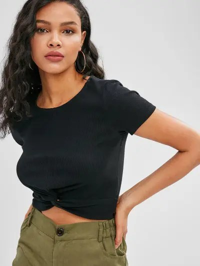 Twist Front Ribbed Cropped Tee