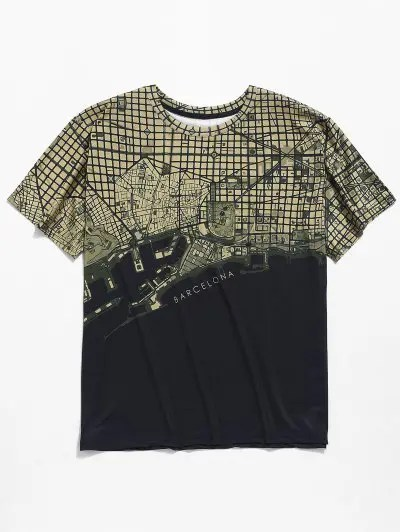 Round Neck Map Graphic Print T shirt