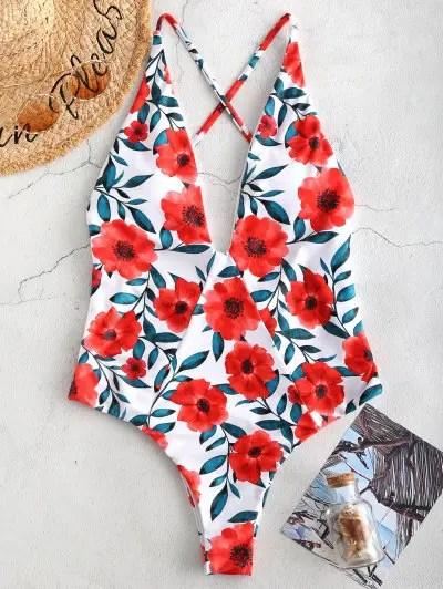 Flower Criss Cross Swimsuit