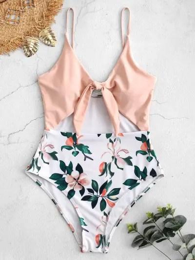 Cutout Plant Print One piece Swimsuit
