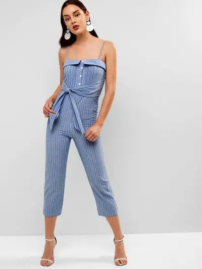 Buttoned Striped Cami Jumpsuit