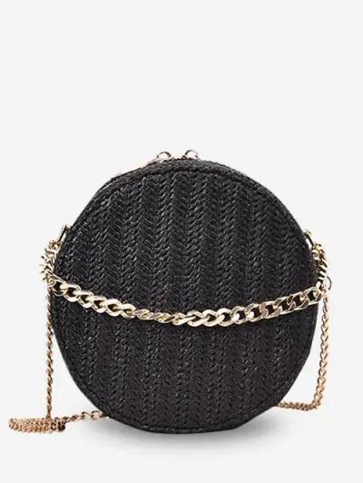 Zipper Straw Round Shoulder Bag