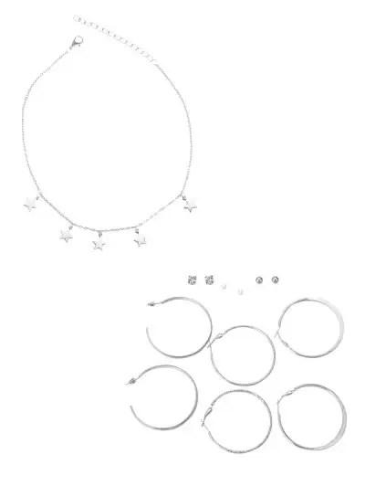 Star Necklace Stud Hoop Earrings Set