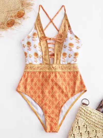 Ethnic Criss Cross Swimsuit