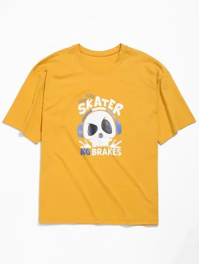 Listening to Music Skull Print T shirt