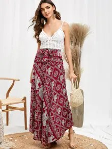 Tribal Print Knotted Skirt