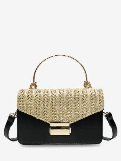Straw Leather Jointed Square Shoulder Bag