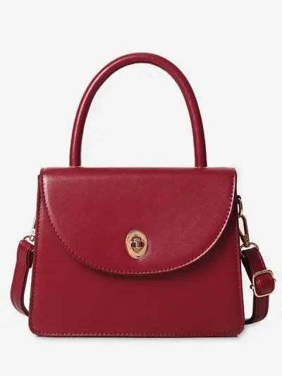 Ins Style Solid Leather Shoulder Bag