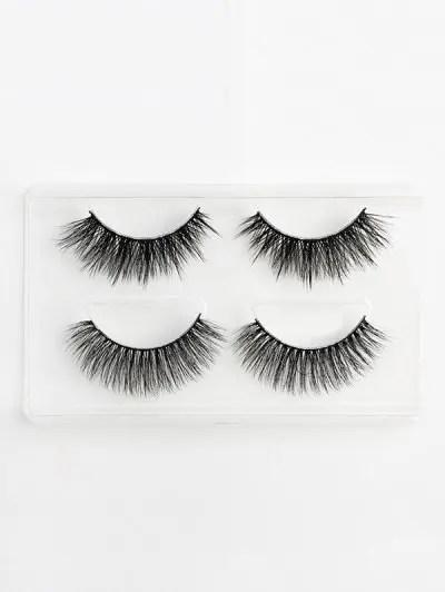 2Pcs 3D Mink Hair Curl Thick Layered Handmade False Eyelashes