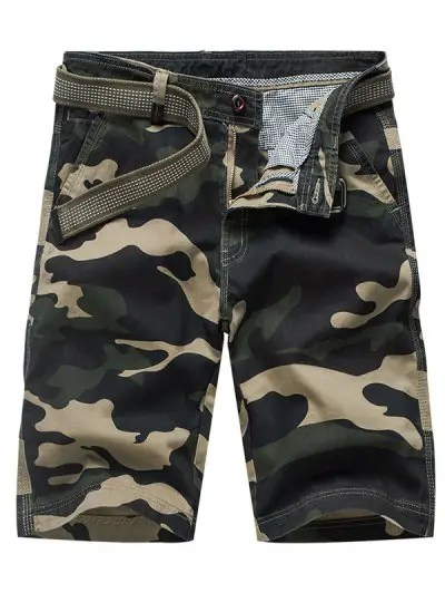 Camouflage Print Jean Shorts