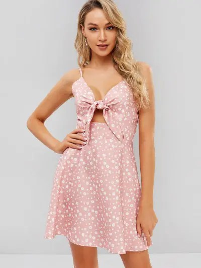 Knotted Floral Dress