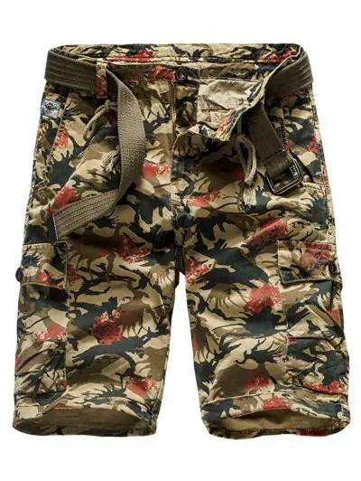 Drawstring Pattern Print Casual Shorts