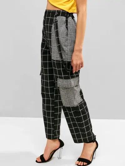 Belt Embellished Plaid Pants