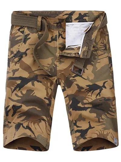 Zipper Fly Print Shorts