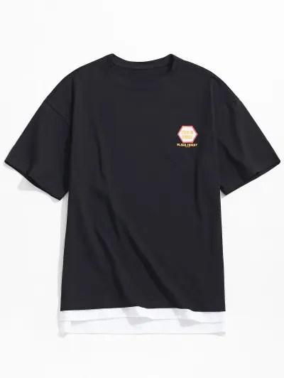 Side Slit Splicing Letters Print T shirt