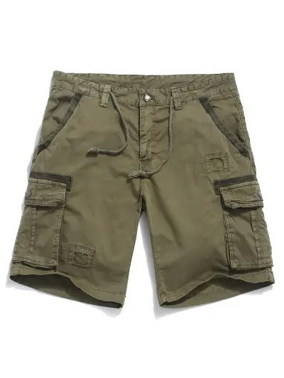 Patchwork Drawstring Shorts