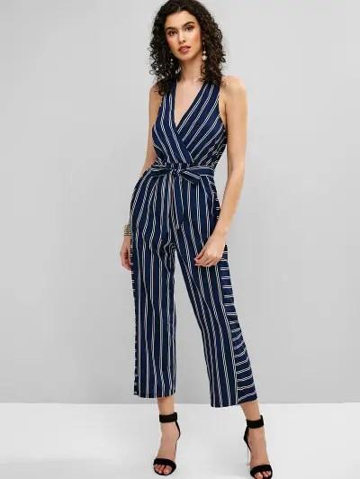 Striped Belted Surplice Jumpsuit