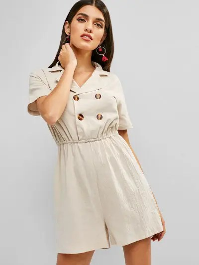 Lapel Double Breasted Romper