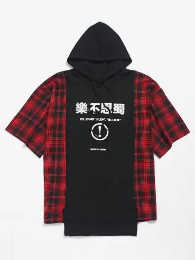 Plaid Print Asymmetric Hooded T shirt