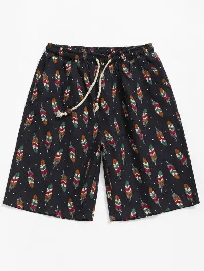 Polka Dots Feather Print Shorts