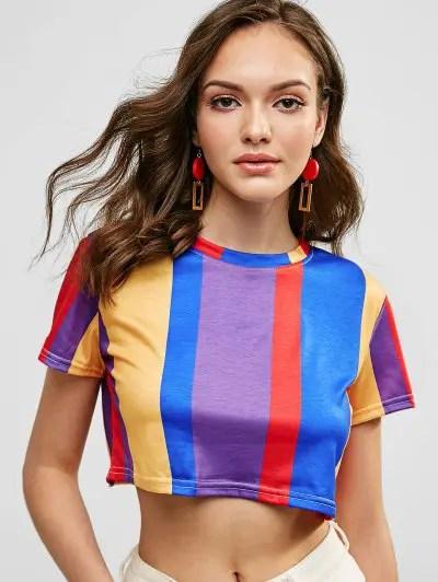 Striped Crop T Shirt