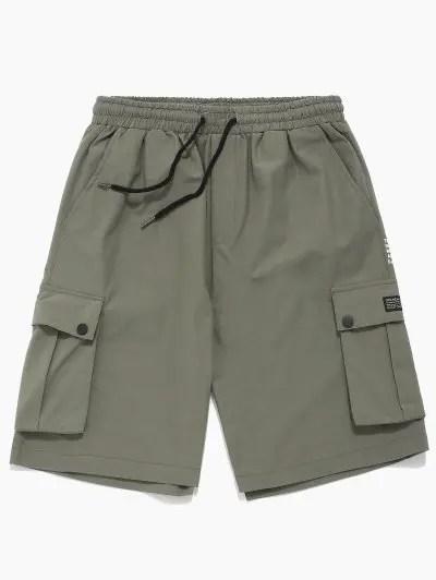 Letter Print Button Pocket Shorts