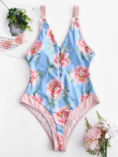 Floral Backless Swimsuit