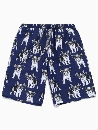 Dog with Glasses Print Shorts
