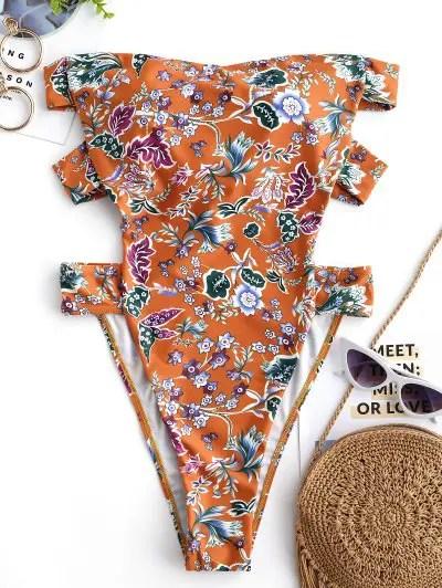 Flower Strapless Swimsuit
