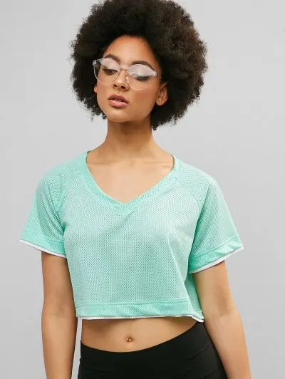 Color Block V Neck T shirt