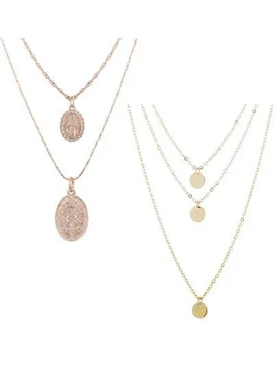 2Pcs Layered Round Necklace Set