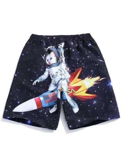 Galaxy Cat Astronaut Print Shorts