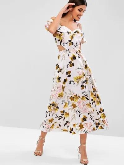 Cold Shoulder Cut Out Floral Dress