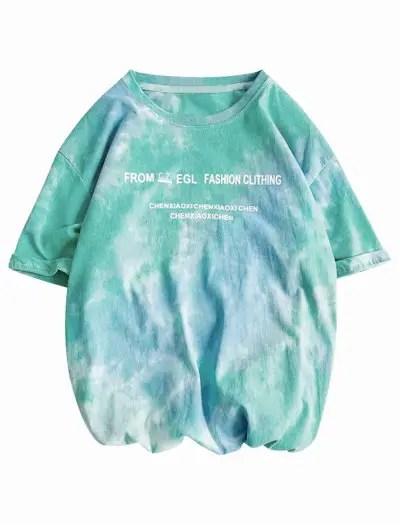 Letter Print Tie Dye T shirt