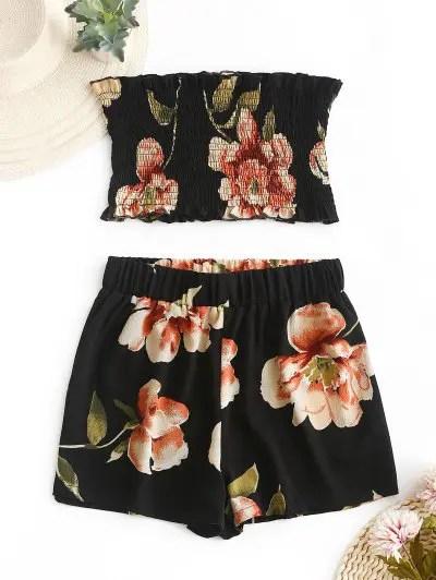 Floral Bandeau Top And Shorts Set