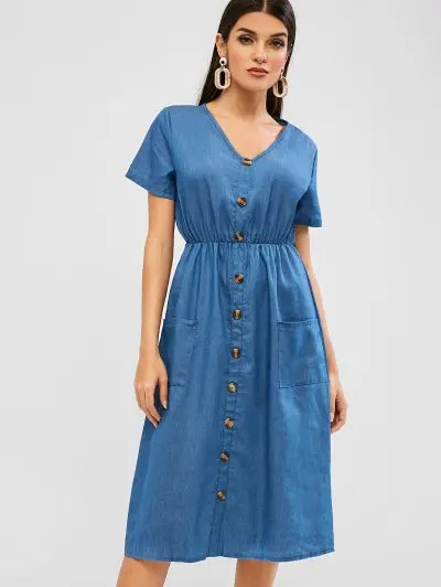 Buttoned Pockets Chambray Dress