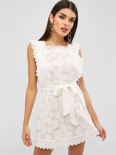 Scalloped Belted Lace Dress